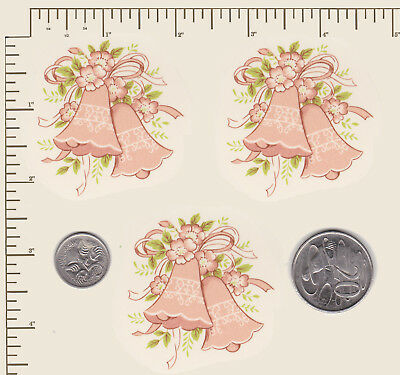 """3 x Ceramic decals Decoupage Pink wedding bells Marriage Approx. 2"""" x 2"""" PD47"""