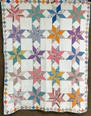Fun! Vintage Feedsack STARS Quilt Diamonds FINE Quilting Signed Lois Dated