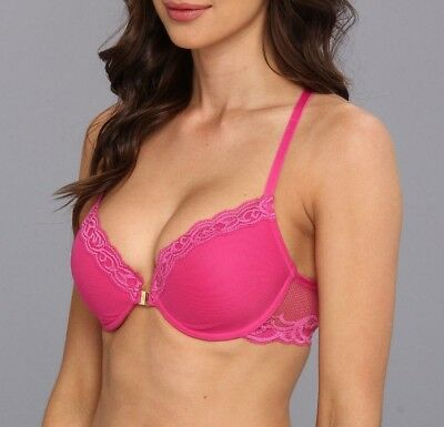 abb0323c77 NATORI FEATHERS FRONT CLOSE CONTOUR PLUNGE UW T-BACK BRA pink 735023 32D  good