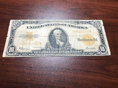 1922 $10 Gold Certificate Bill Note - Still has nice color, tear, see pictures!
