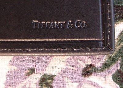 FREE SHIP! NWOT 100% Authentic 100% Tiffany! Black Leather bifold card holder!