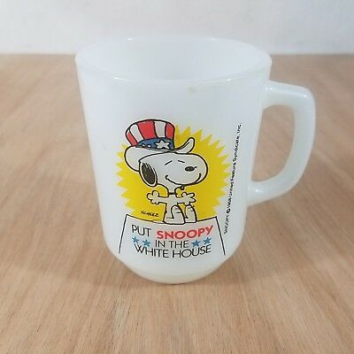 Vintage Anchor Hocking Put Snoopy In The White House Coffee Cup Mug 1980