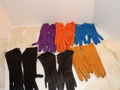 Antique Vintage Ladies Lot Leather Lace Orange Purple White Gloves