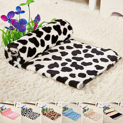 1xWarm Printed Paw Puppy Cat Pet Blanket Fleece Dog Cushion Mat Coral Velvet US