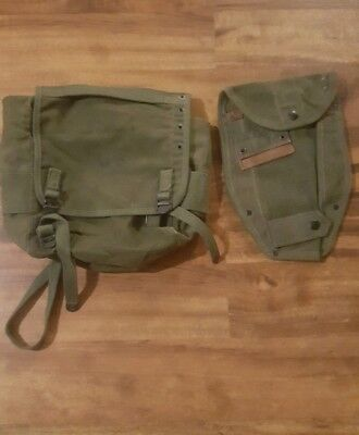 Vintage Vietnam Era M1956 Buttpack Field Pack And Entrenching Tool Carrier Cover