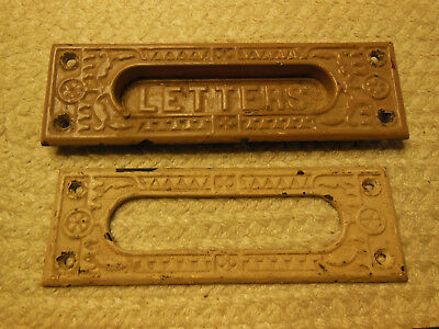 Matching Pair Antique Cast Iron Eastlake Letters Slots - Outside & Inside Door