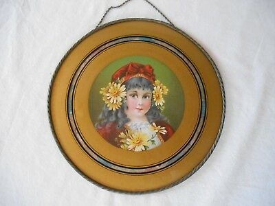 """Antique 10.5"""" FLUE COVER YOUNG GYPSY GIRL RED HAT w/BOW & YELLOW DAISIES in HAIR"""
