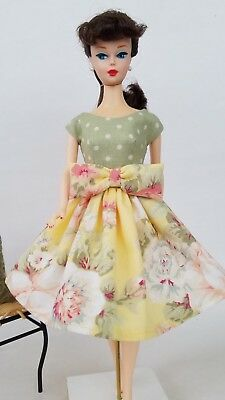 Handmade Vintage Barbie Doll Clothes by Brenda - Yellow Green floral Dress