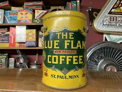 THE BLUE FLAME COFFEE Tin/Pail ST. PAUL, MINN ANTIQUE Griggs Cooper Advertising