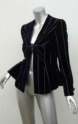 GIORGIO ARMANI BLACK LABEL Dark Navy Embroidered Velvet Long-Sleeve Blazer 36/0