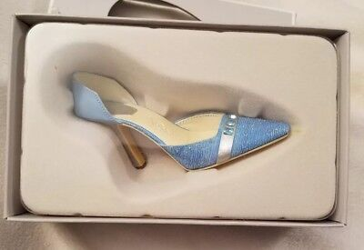NIB Just The Right Shoe March Awesome Aquamarine Birthday Shoe