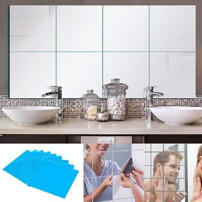 4Pcs Removable Square Wall Stickers Self-Adhesive Mirror Wall Art Decals Vinyl