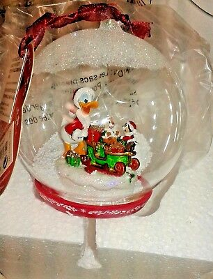 Disney parks store ornament donald duck chip and dale glass globe christmas