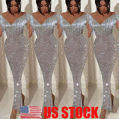 US Women's Off Shoulder V-Neck Sleeveless Bodycon Evening Cocktail Long Dress