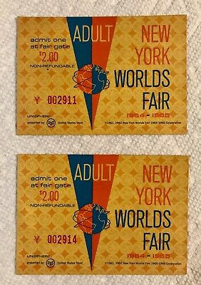 New  Yorks  Worlds  Worlds Fair  Ticket  Un-Used Mint -1964