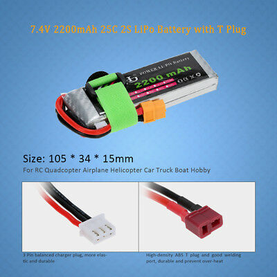 US 7.4V 2200mAh 25C 2S LiPo Battery for 1/16 Mini RC Quadcopter Airplane R7C8