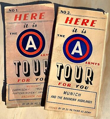 Wwii 3Rd Us Army, No. 1 & No. 2, Here It Is The Army's Tour For You, Booklet Map