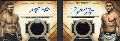 2018 Topps UFC Tier One MICHAEL BISPING/TONY FERGUSON Dual AUTOGRAPH RELIC 05/10