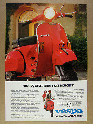 1980 Vespa P200E Scooter photo vintage print Ad