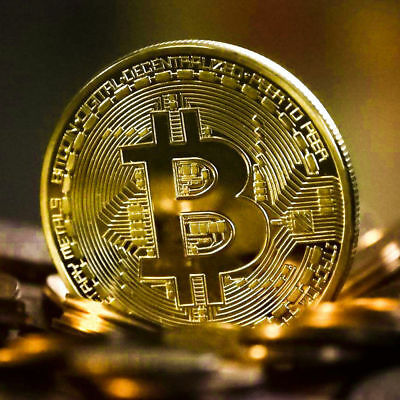 Gold Plated Bitcoin Commemorative Round Collectors Coin Bit Coins Gift w/case 4