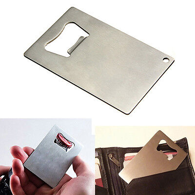 Stainless Steel BEER SODA Bottle Cap Opener Credit Card Size Bar Tool Gifts