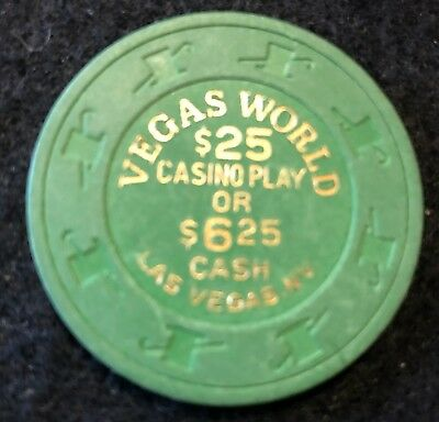 Vegas World $25 Free Play Las Vegas Nevada Clay Vintage Casino Chip 2nd Issue