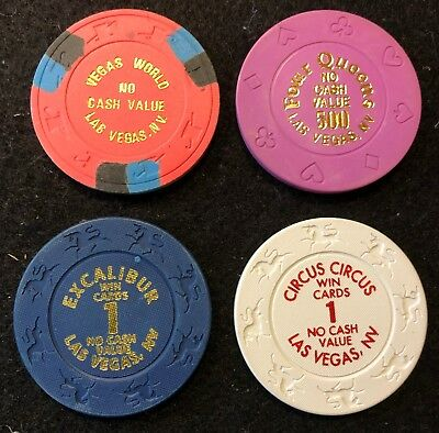(4) Different NCV Las Vegas Casino Chip Lot Excalibur 4 Queens Vegas World