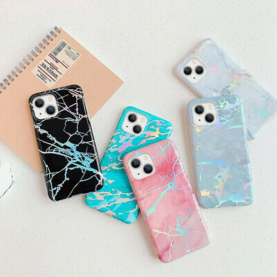 Shiny Marble Iridescent Holographic Holo Soft Silicone Glossy Phone Case Cover