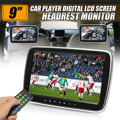 "9"" HD Car Headrest Digital Dual Screen Monitor Slim DVD USB Player HDMI"
