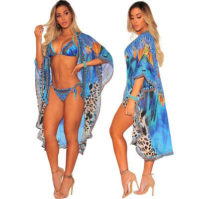 Women Beach Cover Up Chiffon Coat+Bikini Swimsuit feather leopard printed K1730