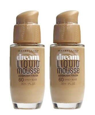 2 X MAYBELLINE 30mL DREAM LIQUID MOUSSE FOUNDATION 60 SANDY BEIGE
