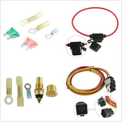 12v dual lead car cooling fan wiring harness kit thermostat 40a universal 12v 40a car offroad dual electric cooling fan wiring harness relay kit