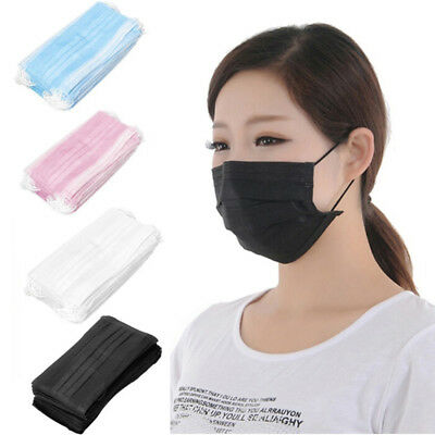 50/100/200pcs Disposable 3 Ply Surgical Dental Nail Salon Dust Medical Face Mask