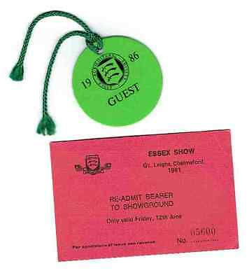 Ticket and Badge for the Essex Agricultural Show 1981 and 1986 Collectors Items.