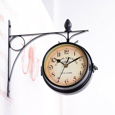 Metal Antique Wall Clock Garden Hallway Outdoor Station Double Sided Mount Decor