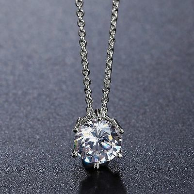 2 Ct Round Solitaire Diamond Pendant Charm Solid 14k White Gold Finish For Women