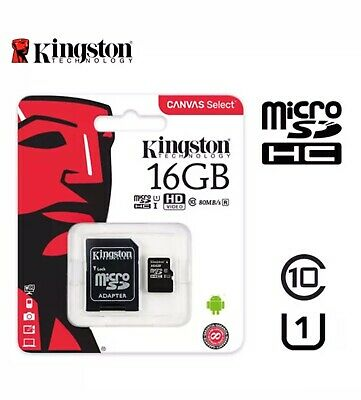 Kingston Micro SD GENUINE 16GB SDHC Memory Card Class 10 80MB/s With Adapter