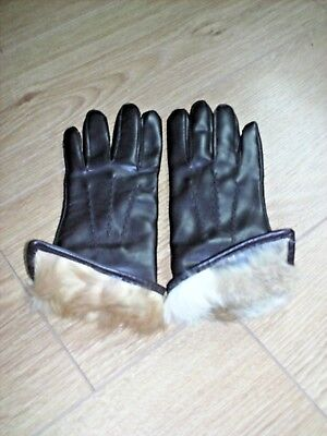 Ladies vintage synthetic brown fur lined gloves