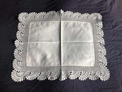 Edwardian Vintage White Cotton Damask Butlers Tray Cloth Hand Crocheted Edging