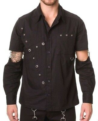 "Black Gothic Mens Shirt XL Punk Goth long sleeve Dead Threads 46"" chest"
