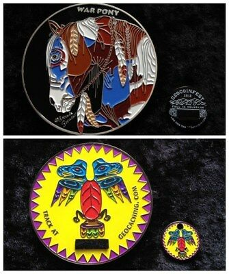 WAR PONY / INDIAN SUMMER giant  geocoin - ACTIVATED - mint condition