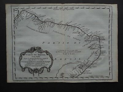 1757 BELLIN  Atlas map  BRAZIL - Carte du Bresil - South America