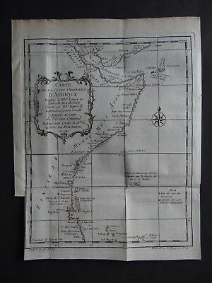1740 BELLIN  Atlas map  EASTERN AFRICA - Carte Costes Afrique  Comte de Maurepas