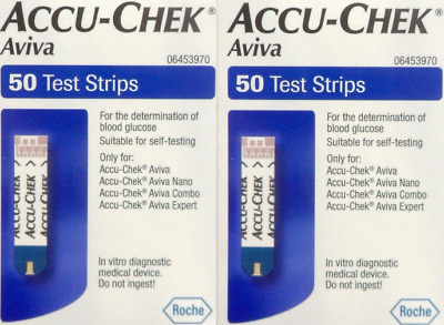 +Accu Chek 2 X 50 Test Strips For Blood Glucose Monitors   Expiry 29/2/20