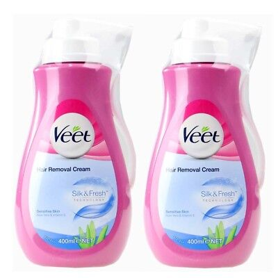 2 x VEET 400mL IN SHOWER HAIR REMOVAL CREAM SENSITIVE SKIN ALOE VERA VITAMIN E