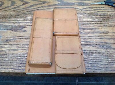 Antique Vintage Calling Card case/sewing case/cheroot holder all Tan Leather