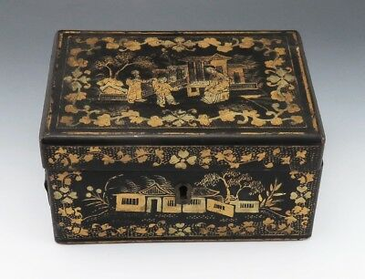 Ornate Antique Chinese Black, Red and Gold Laquered Wooden Tea Box