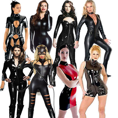 Sexy PVC Catsuit Women Halloween Faux Leather Latex Bodysuit Costume Dress