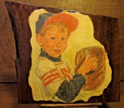 American's Pastime Baseball ANTIQUE walnut Art Wood Wall Hanging Plaque Signed