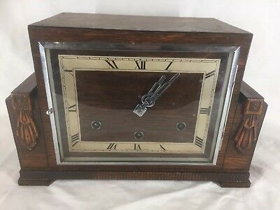 Vintage Oak Mantle Clock 8 Day Westminister Chime With Key (ref Y188)